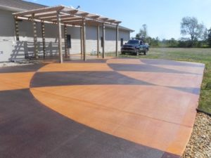 back patio grilling pad decorative stained concrete pergola cover