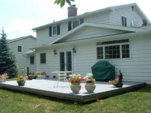 back patio potted plants trex composite deck