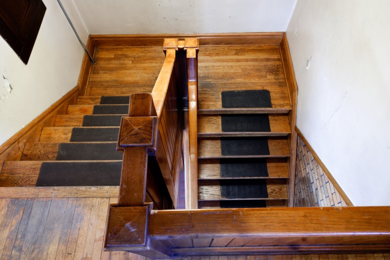 existing staircase historic renovation before removal demo