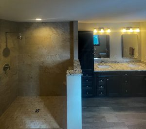 owners suite curbless shower before glass